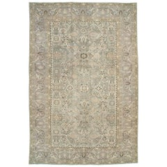 Mid-20th Century Persian Malayer Room Size Carpet in Purple-Grey and Slate-Green