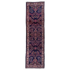 Mid-20th Century Persian Sarouk Runner, Navy Field, Red Accents, circa 1950s