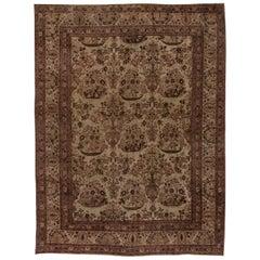 Mid-20th Century Persian Tabriz Beige, Purple Handwoven Wool Rug