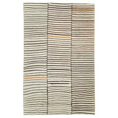Mid-20th Century Persian Tribal Kilim Accent Rug in Cream, Brown, Charcoal