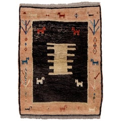 Mid-20th Century Pictorial Persian Gabbeh Rug, Charcoal Field, Peach Borders