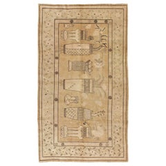 Mid-20th Century Pictorial Vase Khotan Accent Rug in Neutral Colors