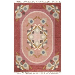 Mid-20th Century Pink, Red, Gray Swedish Flat-Weave Rug Signed by Ingegerd Silow