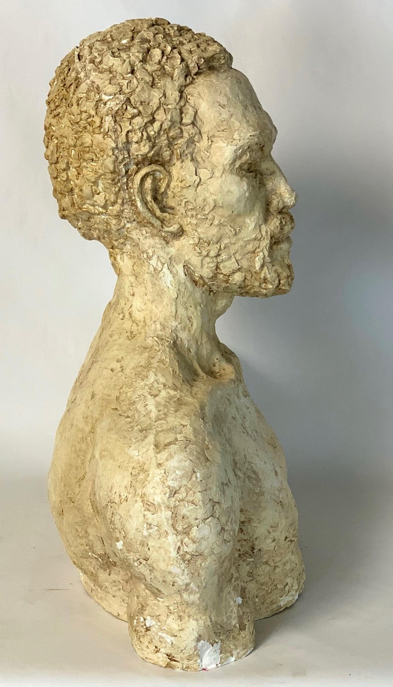 Hand-Carved Mid-20th Century Plaster Bust For Sale