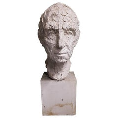 Mid-20th Century Plaster Bust of a Man, Signed Sloimovici Dated 1952