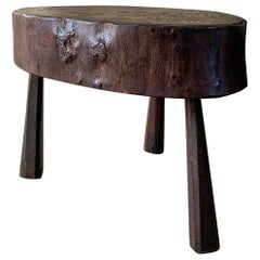 Mid-20th Century Primitive Low Round Table