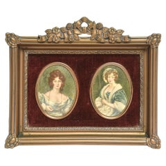 Mid-20th Century Print Portraits in Floral Gold Frame