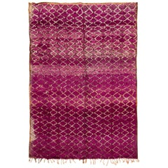Mid-20th Century Purple Moroccan Tribal Wool Rug