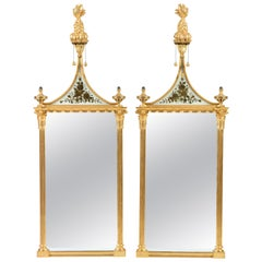 Mid-20th Century Rectangular Gilt Pier Mirrors