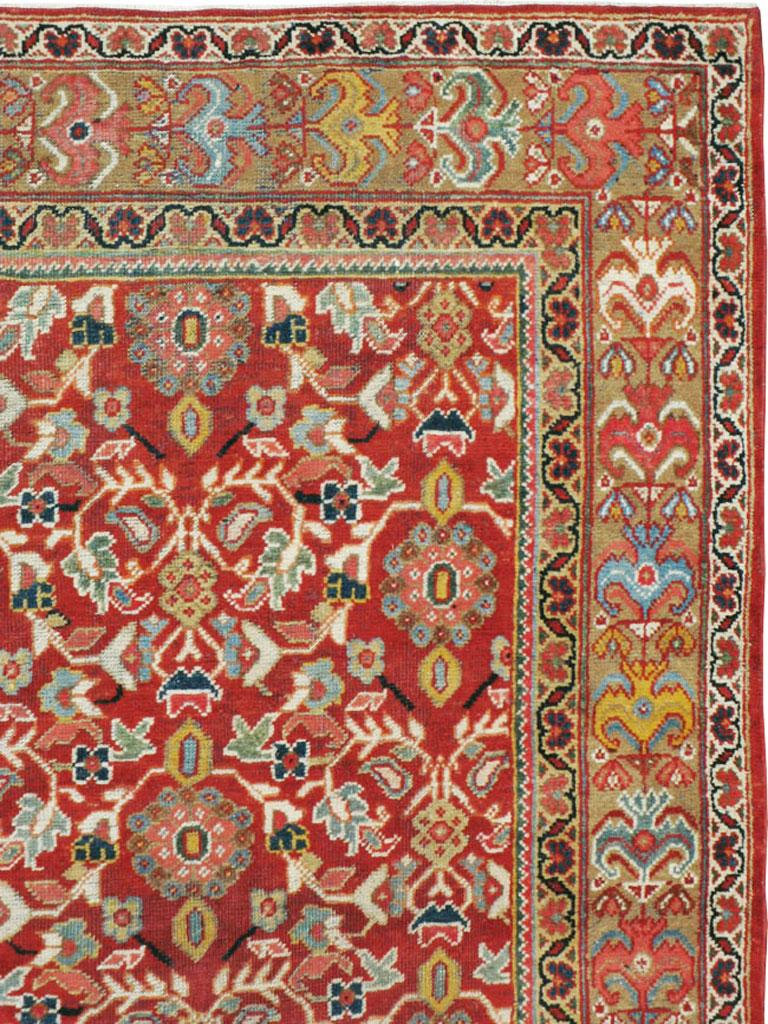Sultanabad Mid-20th Century Red Persian Mahal Carpet For Sale