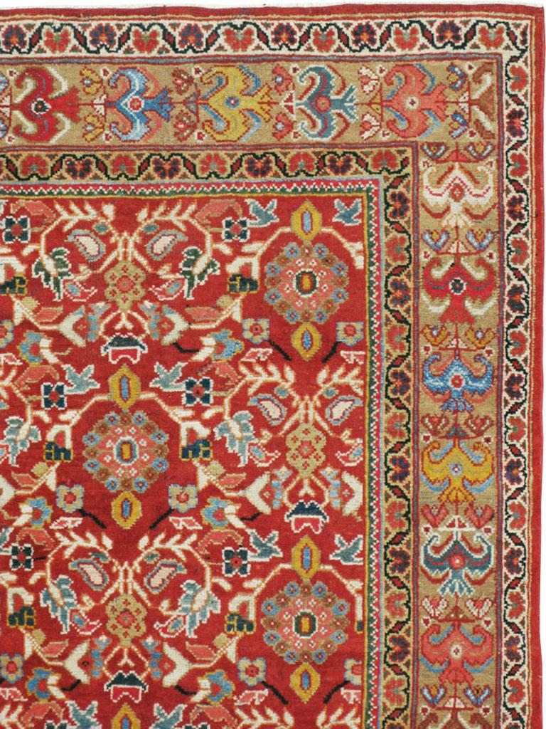 Hand-Knotted Mid-20th Century Red Persian Mahal Carpet For Sale