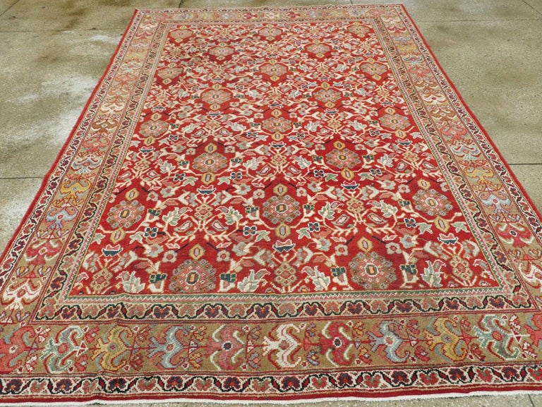 Mid-20th Century Red Persian Mahal Carpet In Good Condition For Sale In New York, NY