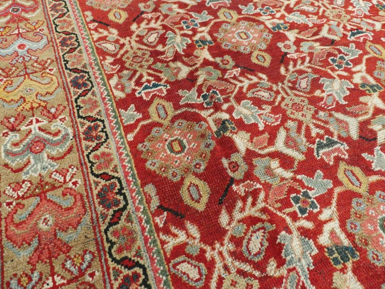 Wool Mid-20th Century Red Persian Mahal Carpet For Sale