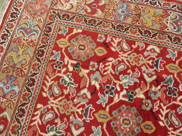 Mid-20th Century Red Persian Mahal Carpet For Sale 1