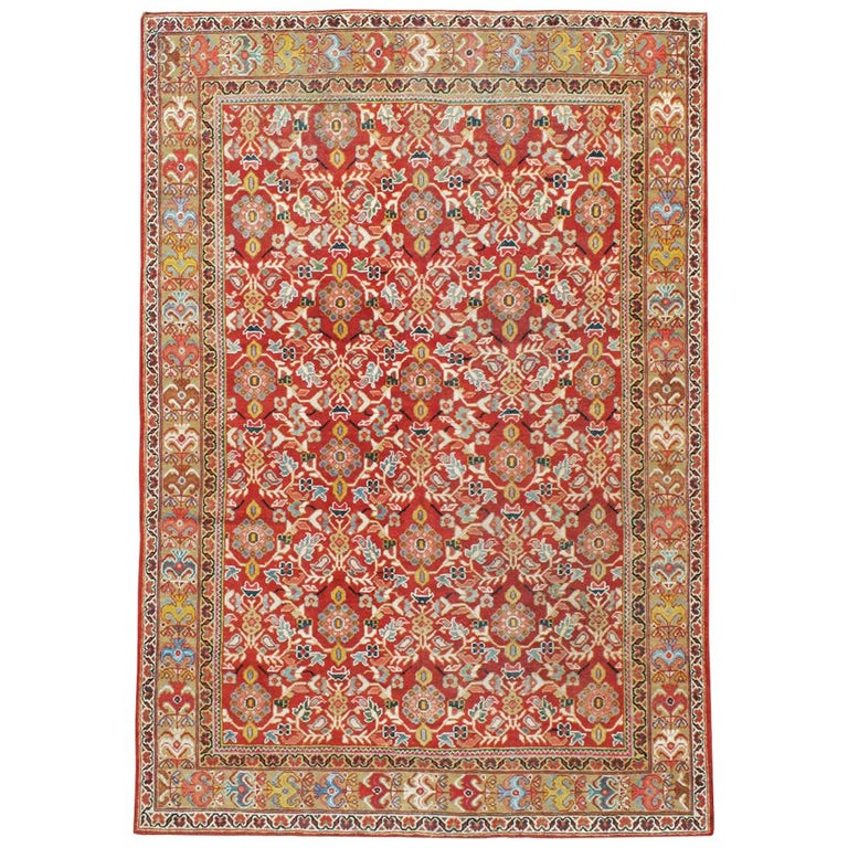 Mid-20th Century Red Persian Mahal Carpet For Sale