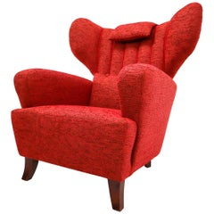 Mid-20th Century Red Reupholstered Wingback Chair, Austria, 1930s