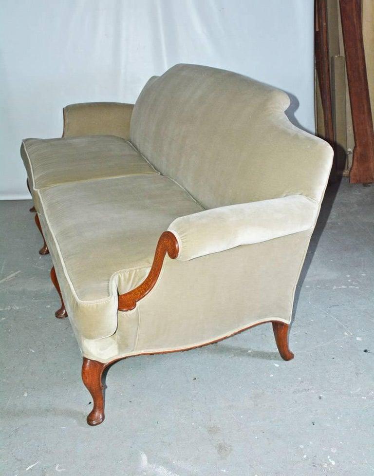 American Empire Mid-20th Century Regency Style Velvet Sofa For Sale