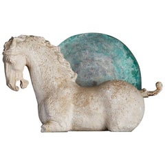 Mid-20th Century Repro of 17th Century Resting Horse in Plaster over Iron