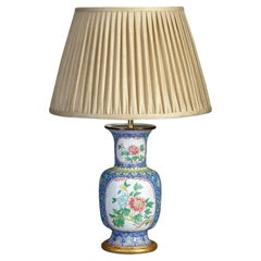 Mid-20th Century Republic Period Canton Enamel Vase Lamp