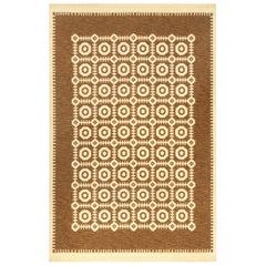 Mid-20th Century Reversible Geometric Brown, Ivory Scandinavian Flat-Weave Rug