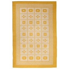 Mid-20th Century Reversible Geometric Mustard Yellow, Gray, Ivory Swedish Rug