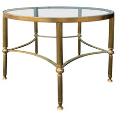 Mid-20th Century Round Brass Coffee Table, Glass Top, in the Style of Baguès