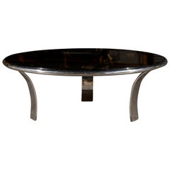 Mid-20th Century Round Chrome Coffee Table with Smoky Glass Top