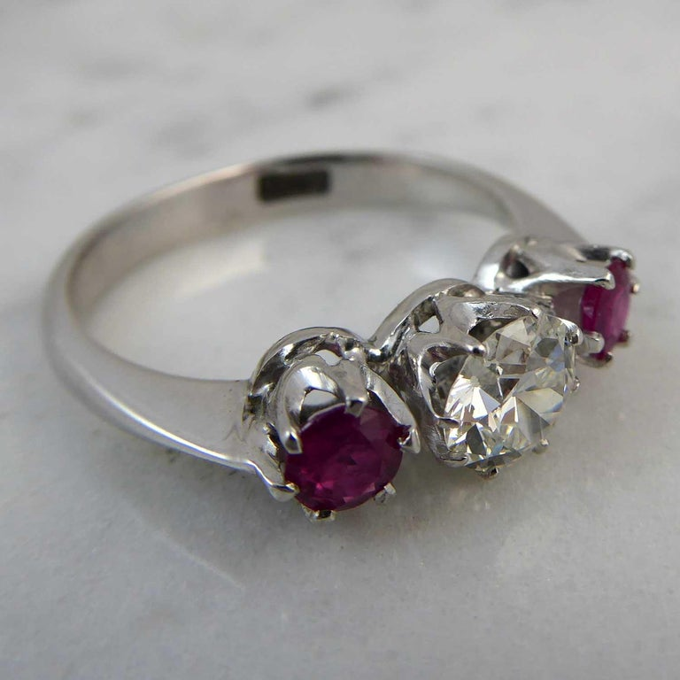 Modern Mid-20th Century Ruby Diamond Three-Stone Engagement Ring
