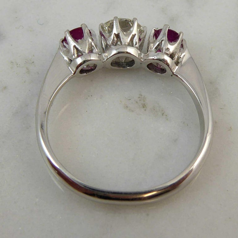 Mid-20th Century Ruby Diamond Three-Stone Engagement Ring In Fair Condition In Yorkshire, West Yorkshire