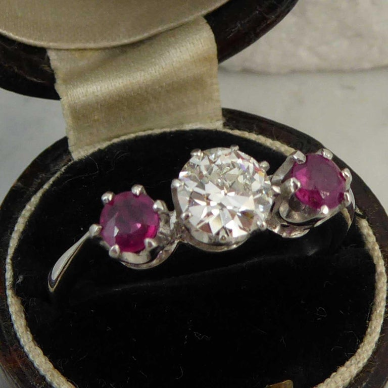 Women's or Men's Mid-20th Century Ruby Diamond Three-Stone Engagement Ring