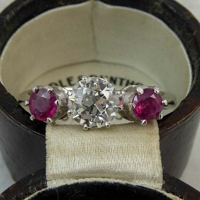 Mid-20th Century Ruby Diamond Three-Stone Engagement Ring 1