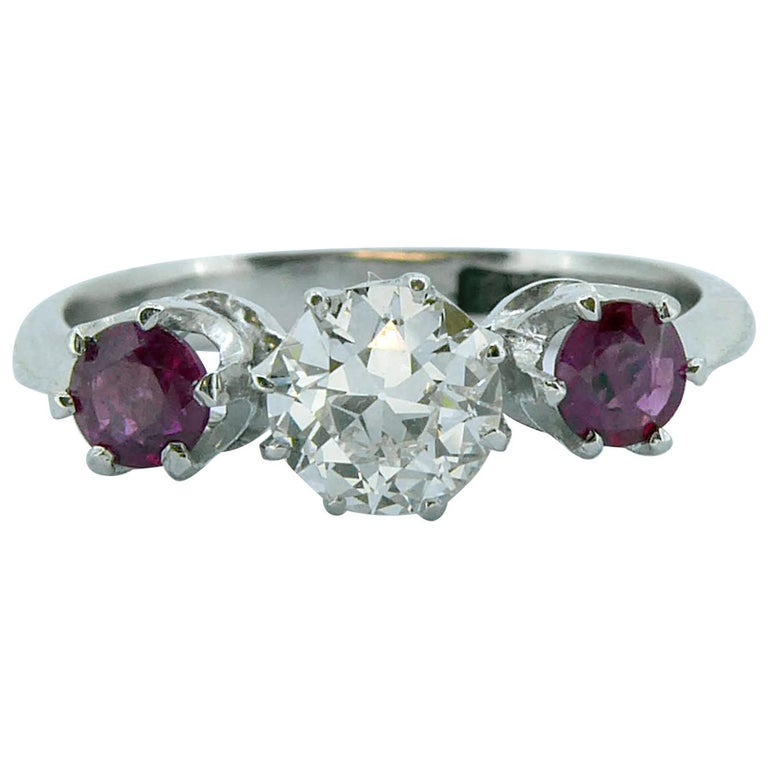 Mid-20th Century Ruby Diamond Three-Stone Engagement Ring