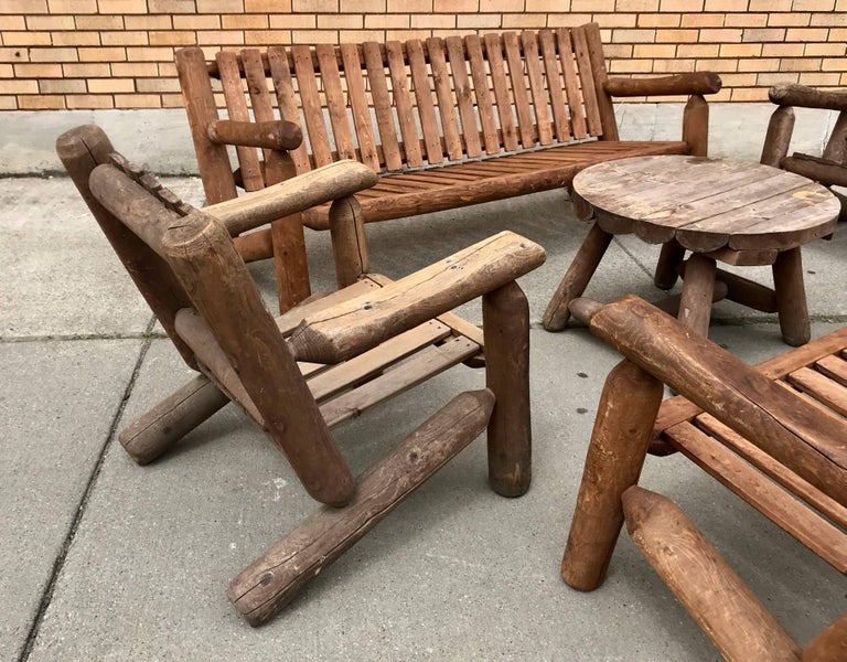 Mid 20th Century Rustic American Camp four-piece suite,Adirondack,,Two sofas,,two lounge chairs and table,Superior quality and construction.Sofa measures 78 x 27h x 32 d  Hand delivery avail to New York or anywhere en route from Buffalo Ny