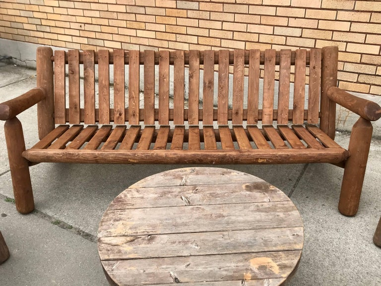 Hand-Crafted Mid-20th Century Rustic American Camp Four-Piece Suite, Adirondack For Sale