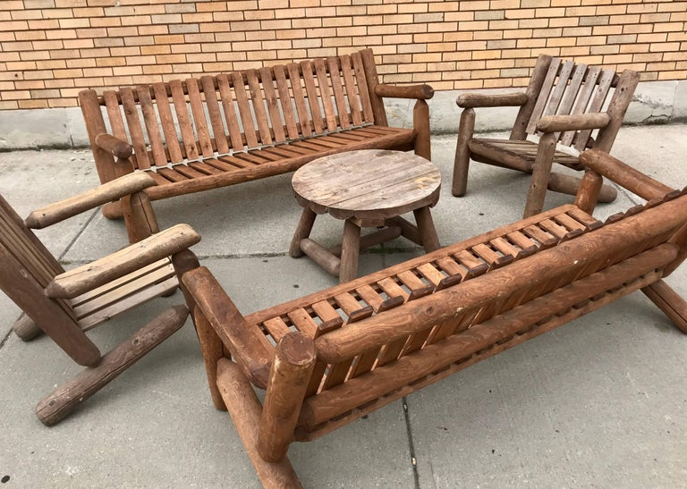 Wood Mid-20th Century Rustic American Camp Four-Piece Suite, Adirondack For Sale