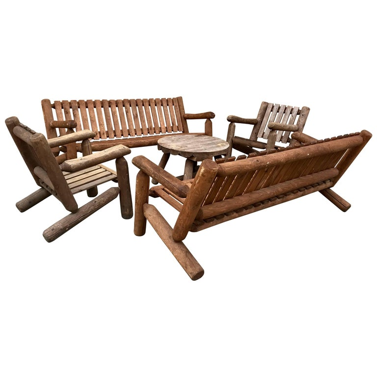 Mid-20th Century Rustic American Camp Four-Piece Suite, Adirondack For Sale