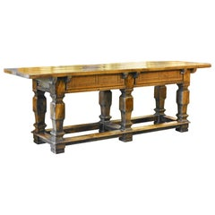 Mid-20th Century Rustic Baroque Style Spanish Carved Walnut Refectory Table