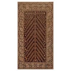 Mid-20th Century Samarkand Brown, Beige, Pink Handmade Wool Rug
