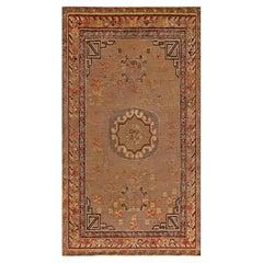 Mid-20th century Samarkand Brown, Orange, Purple Handmade Wool Rug