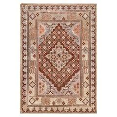 Mid-20th Century Samarkand Gray, Beige, Purple, Pink Handmade Wool Rug