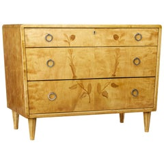 Mid-20th Century Scandinavian Birch Inlaid Chest of Drawers