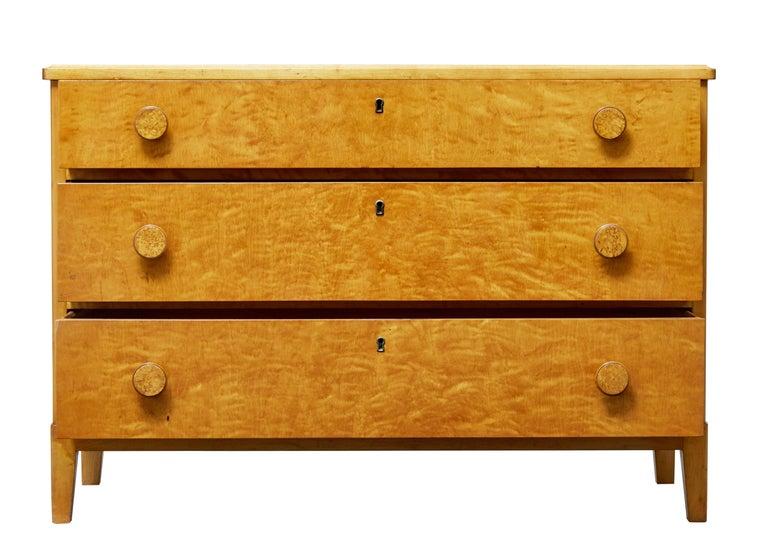 Scandinavian Modern Mid-20th Century Scandinavian Design Birch Chest of Drawers For Sale