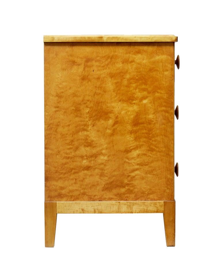 Swedish Mid-20th Century Scandinavian Design Birch Chest of Drawers For Sale