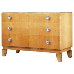 Mid-20th Century Scandinavian Elm and Birch Chest of Drawers