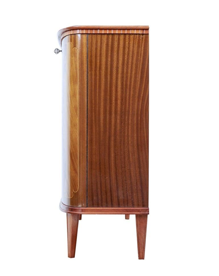 Scandinavian Modern Mid-20th Century Scandinavian Flame Mahogany Sideboard For Sale