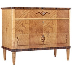 Mid 20th century Scandinavian inlaid elm and birch chest of drawers