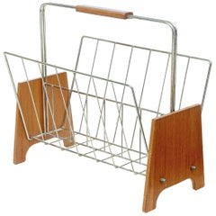 Mid-20th Century Scandinavian Modern Teak and Brass Magazine Rack