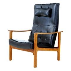 Mid-20th Century Scandinavian Modern Teak Reclining Leather Armchair