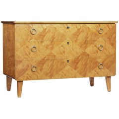 Mid-20th Century Scandinavian Patterned Birch Chest of Drawers