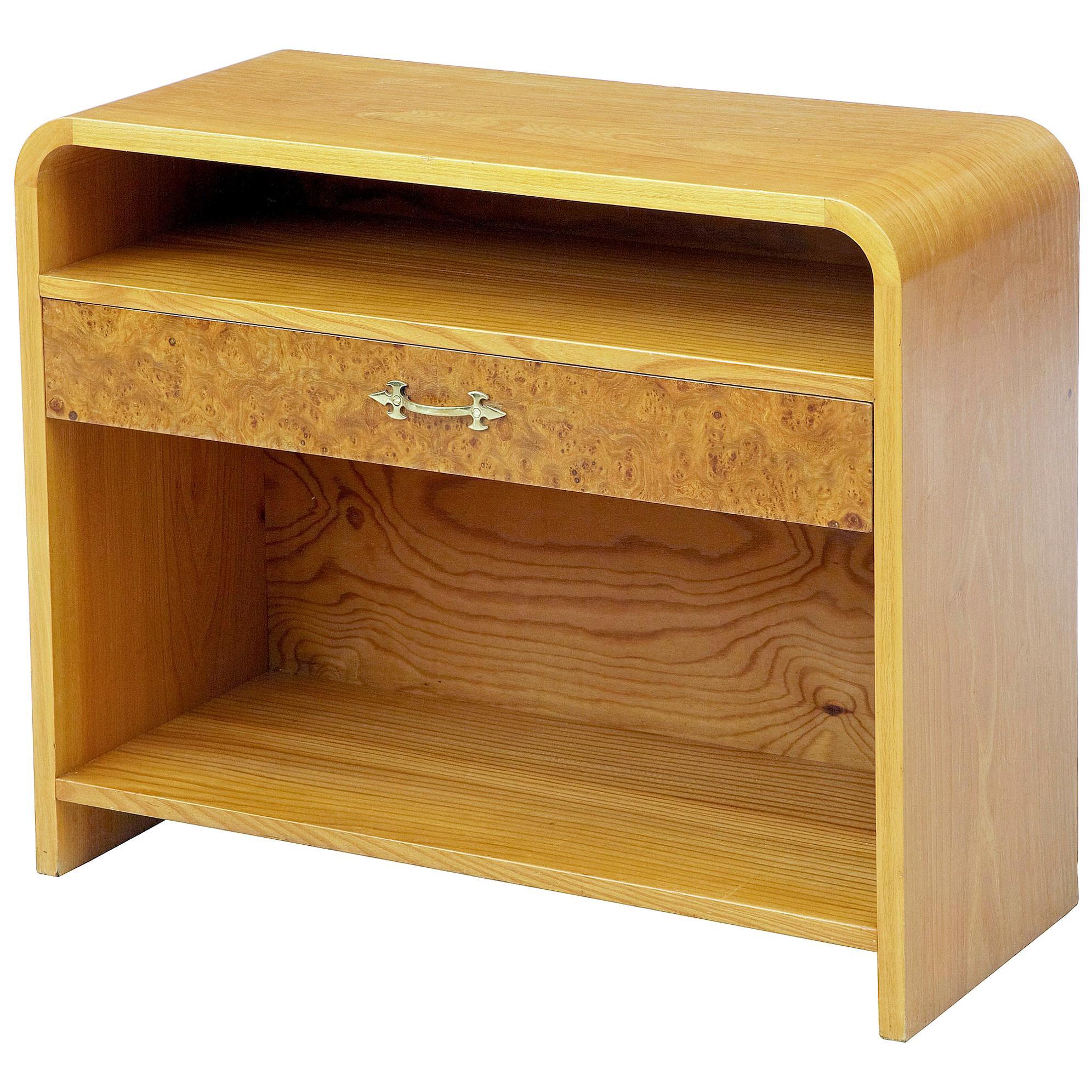 Mid-20th Century Scandinavian Shaped Birch Bedside Table
